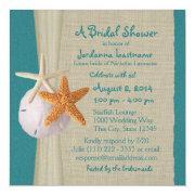 Starfish And Burlap Look Teal Bridal Shower