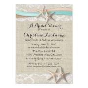 Starfish And Ribbon Aqua Peach Bridal Shower