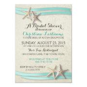 Beach bridal shower invitations funbridalshowerinvitations starfish aqua beach bridal shower filmwisefo