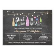 Stock The Bar & Kitchen Engagement Party Couples Invitation