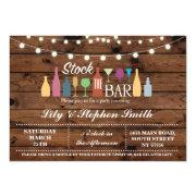 Stock The Bar Wood Engagement Shower Invitation