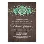 Succulent Bridal's Breath Bridal Shower Invitations