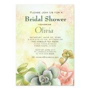 Succulent Watercolor Floral Bridal Shower