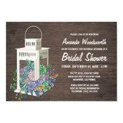 Succulents And Lantern Bridal Shower Invitations