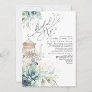 Succulents Gold Greenery Bridal Shower Tea Party Invitation