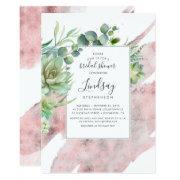 Succulents Greenery Rose Gold Foil Bridal Shower Invitation