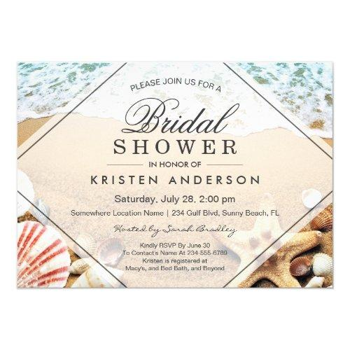Summer Sandy Beach Starfish Seashell Bridal Shower Invitations