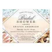 Beach bridal shower invitations funbridalshowerinvitations summer sandy beach starfish seashell bridal shower invitations filmwisefo