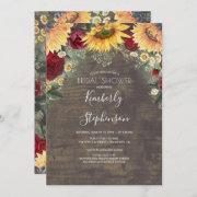 Sunflower And Burgundy Rose Rustic Bridal Shower Invitation