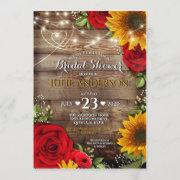 Sunflower And Rose Rustic Bridal Shower Invitation