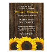 Sunflower Barn Wood Bridal Shower Custom Invitations