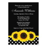 Sunflower Black and White Polka Dot Bridal Shower Invites