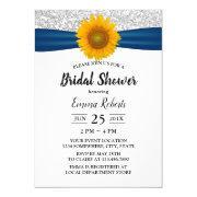 Sunflower Blue Ribbon Silver Sequins Bridal Shower
