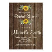 Sunflower Bridal Shower Invitation, Rustic, Floral