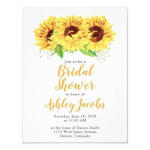 Sunflower Bridal Shower Invitations Watercolor
