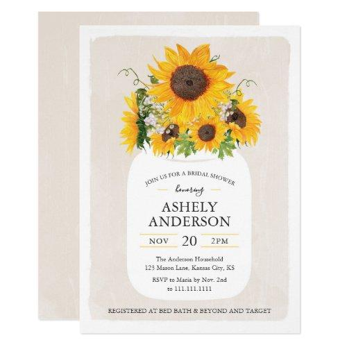 Sunflower Mason Jar Bridal Shower Invitation