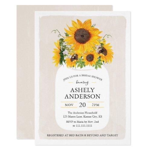 Sunflower Mason Jar Bridal Shower Invitations