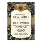 Sunflower Mason Jar Camo Bridal Shower
