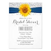 Sunflower Modern Silver Glitter Bridal Shower