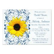 Sunflower Navy Blue White Floral Bridal Shower Custom Invitations