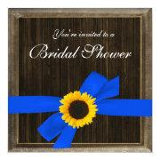 Sunflower Ribbon Barn Wood Frame Bridal Shower Personalized Invite