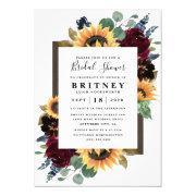 Sunflower Roses Burgundy Navy Blue Bridal Shower Invitations