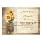 sunflower rustic mason jar bridal shower invites