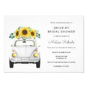 Sunflower White Car Drive By Bridal Shower Invitation