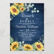 Sunflowers Eucalyptus Watercolor Brunch & Bubbly Invitation