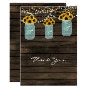 Sunflowers Mason Jar Bridal Shower Thank You