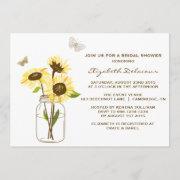 Sunflowers On Mason Jar Bridal Shower Invitation