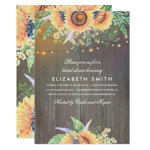 Sunflowers Rustic String Lights Wood Bridal Shower Invitations