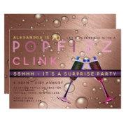 Surprise Birthday Rose Gold Champagne Any Age Invitation