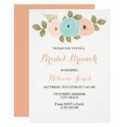 Sweet Peach Teal Floral Bridal Brunch Invite