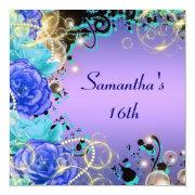 """Sweet sixteen"" rose jewel blue elegant Custom Invitations"