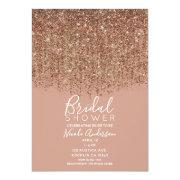 Taupe Tan & Bronze Gold Glitter Bridal Shower Invitation