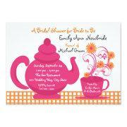 Tea Party Pink And Orange Bridal Shower