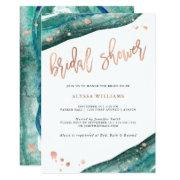 Teal And Faux Rose Gold Geode Bridal Shower Invitations