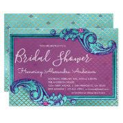 Teal Blue And Purple Mermaid Scales Bridal Shower