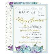 Teal Blue Bouquet Wedding Suite Shower Party Invitation