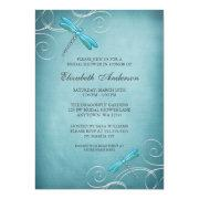 Teal Blue Dragonfly Swirls Bridal Shower