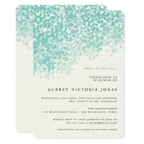 Teal Blue Light Shower Bridal Shower Invitations