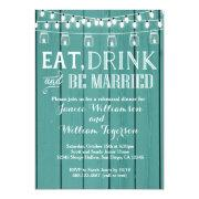 Teal Blue Rustic Wood Rehearsal Dinner
