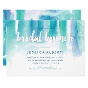 Teal Blue Watercolor Wash Bridal Brunch