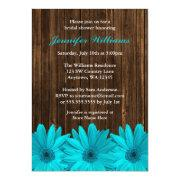 Teal Daisy Barn Wood Bridal Shower Invitations