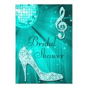 Teal Disco Ball And Sparkle Heels Bridal Shower