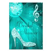 Teal Disco Ball and Sparkle Heels Bridal Shower Personalized Announcement