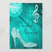 Teal Disco Ball And Sparkle Heels Bridal Shower Invitation