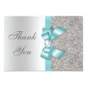 Teal Faux Bow Silver Diamonds Thank You Custom Invites