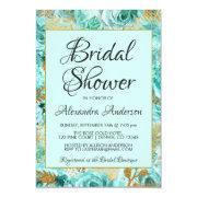 Teal Floral Roses Bridal Shower Monogram